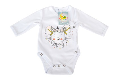 Picture of Side snap baby body - Organic cotton - Happy - mouse