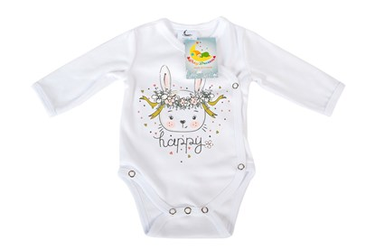 Picture of Side snap baby body - Organic cotton - Happy - bunny
