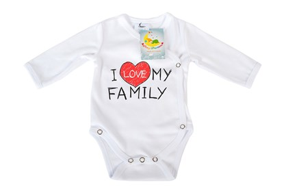 Picture of Side snap baby body - Organic cotton - I love my family