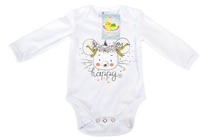 Picture of Baby body long sleeves organic cotton - Happy - mouse
