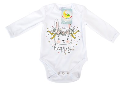 Picture of Baby body long sleeves organic cotton - Happy - bunny
