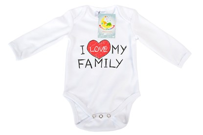 Picture of Baby body long sleeves organic cotton  - I love my family