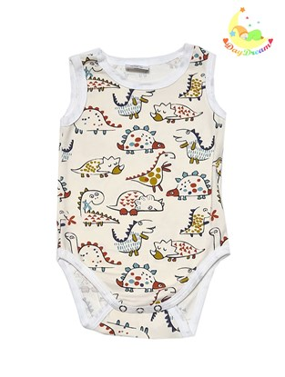 Picture of Baby body - no sleeves - Dino - beige