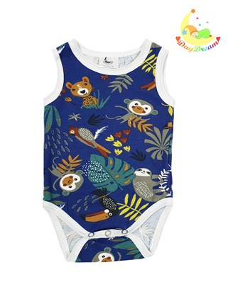 Picture of Baby body - no sleeves - Jungle - dark blue