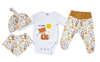 Picture of 4 pieces newborn set - I'm happy + gloves as a gift
