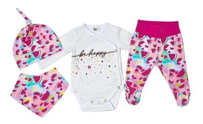 Picture of 4 pieces newborn set - Be happy + gloves as a gift