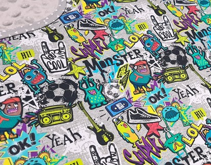 Picture of Premium cotton minky blanket 100x80 - Monster