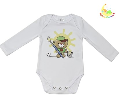 Picture of Baby body long sleeves organic cotton - Teddy the painter