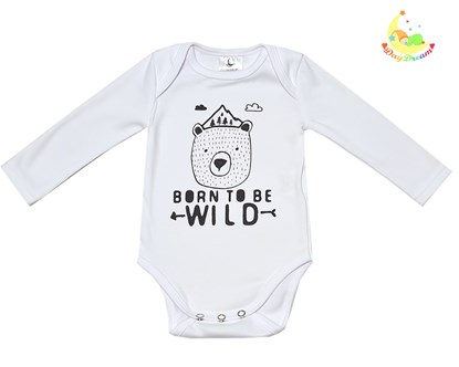 Picture of Baby body long sleeves organic cotton - Born to be wild 2