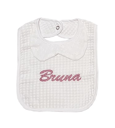Picture of Baby bib with waterproof lining - White with collar