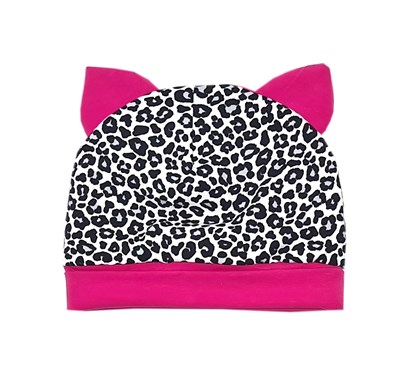 Picture of Beanie with ears - Leopard - pink ears