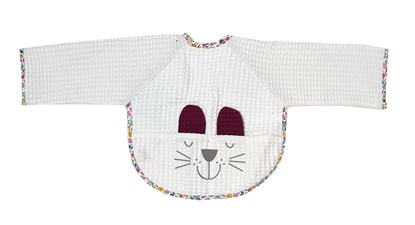 Picture of Baby bib with sleevs - White 1