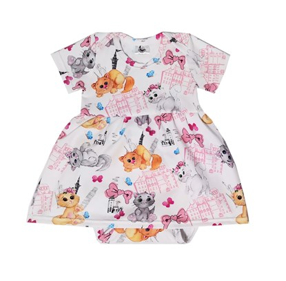 Picture of Baby body dress - Colorful cats