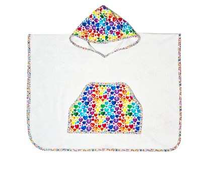 Picture of Bamboo baby poncho - Hearts - from 3 to 6 years