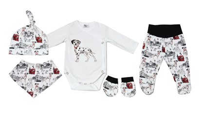 Picture of 4 pieces newborn set - Dalmatians + gloves as a gift