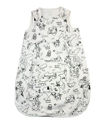 Picture of Summer sleeping bag - Map of the world - black and white - 60cm