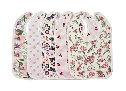 Picture of Set of 5 baby bibs with waterproof lining - For girls 2
