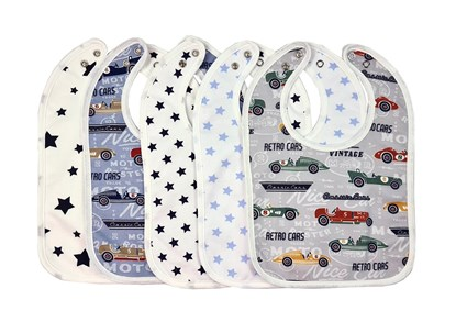 Picture of Set of 5 baby bibs with waterproof lining - For boys 2