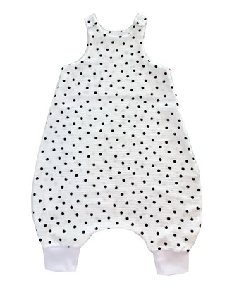 Picture of Single layer muslin sleeping bag with legs - Black dots - 90cm