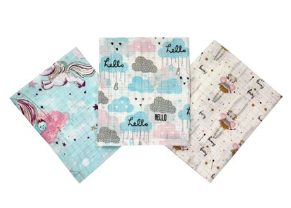 Picture of Cotton tetra wash clothes 3/1 - Clouds and bunny