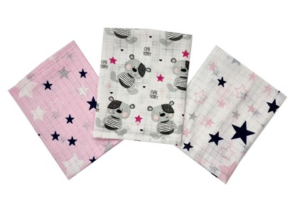 Picture of Cotton tetra wash clothes 3/1 - Teddy and stars