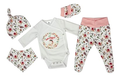 Picture of 4 pieces newborn set - Flowers + gloves as a gift