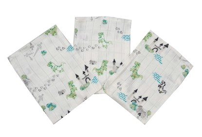 Picture of Bamboo tetra gloves - Dino and castle