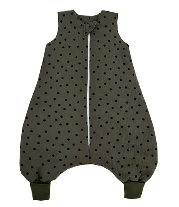 Picture of Muslin winter sleeping bag with legs - Dots - dark green
