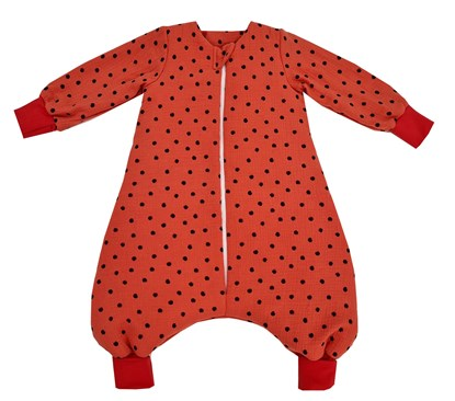 Picture of Muslin winter sleeping bag with sleevs - Dots - red