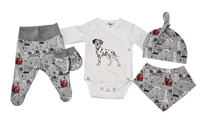 Picture of 4 pieces newborn set - Grey dalmatians + gloves as a gift