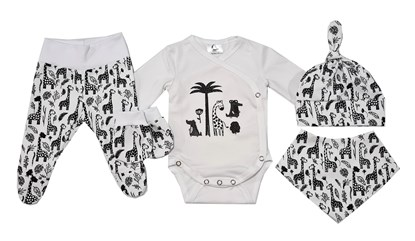Picture of 4 pieces newborn set - Black giraffes + gloves as a gift